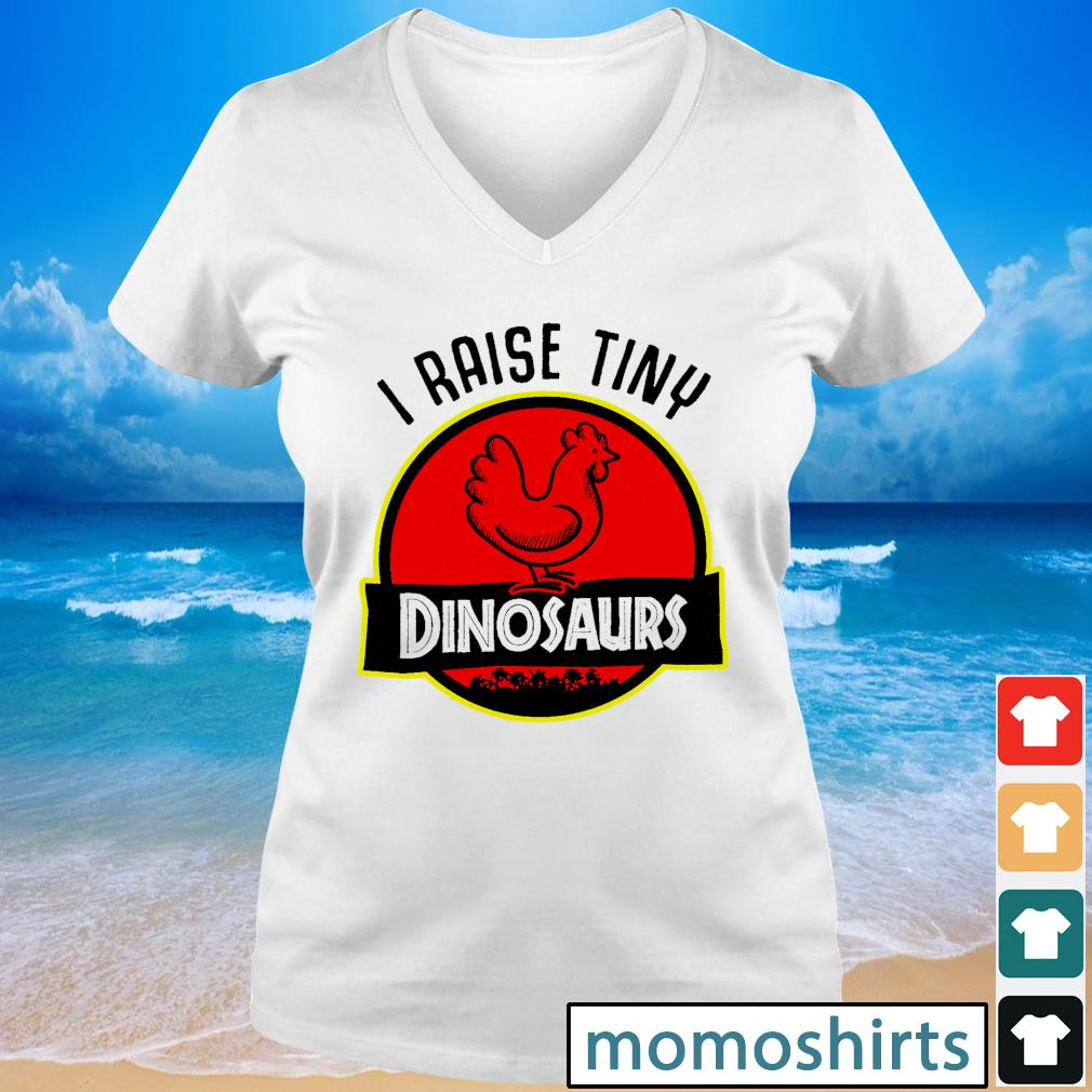 I raise tiny dinosaurs s V-neck t-shirt