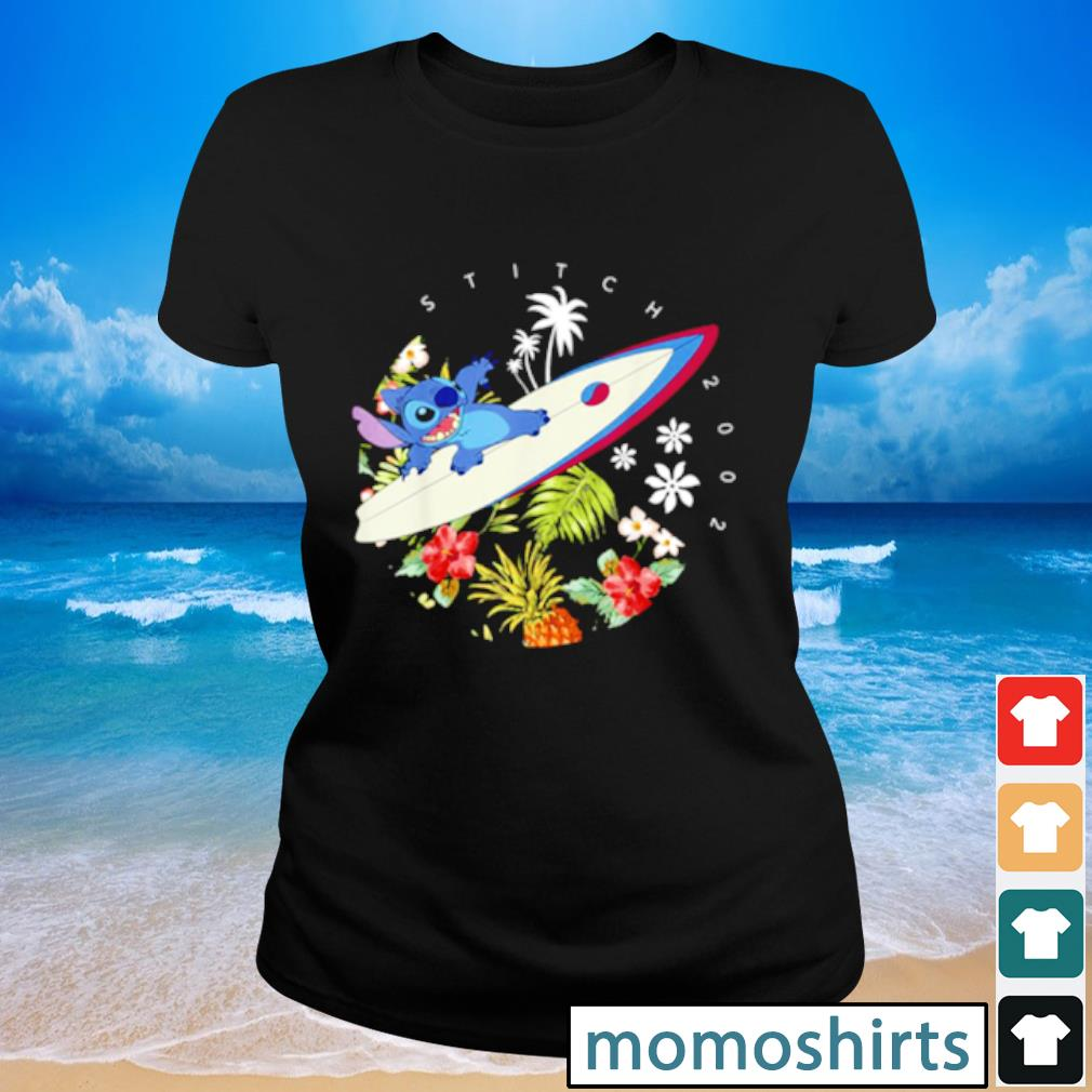 Pretty Disney Lilo And Stitch Surfing Tropical Circle Portrait s Ladies-tee