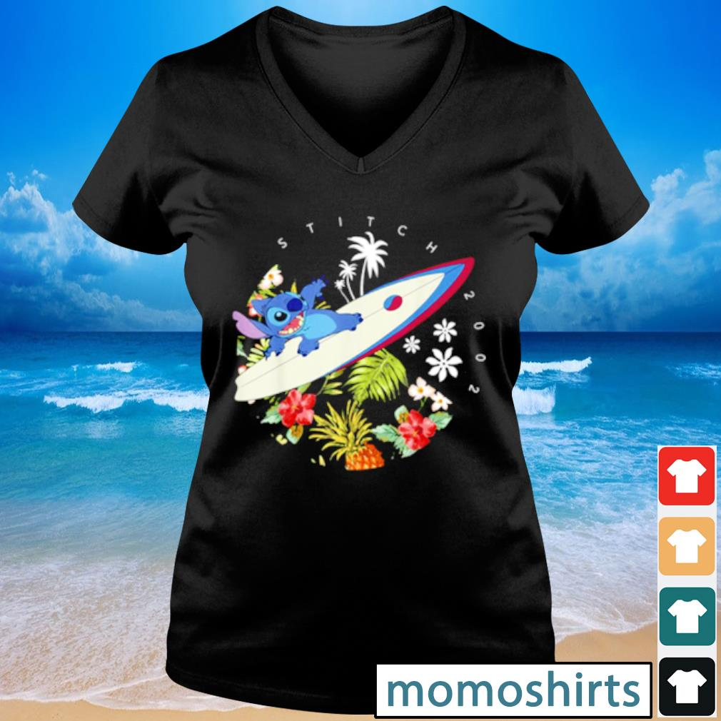 Pretty Disney Lilo And Stitch Surfing Tropical Circle Portrait s V-neck t-shirt