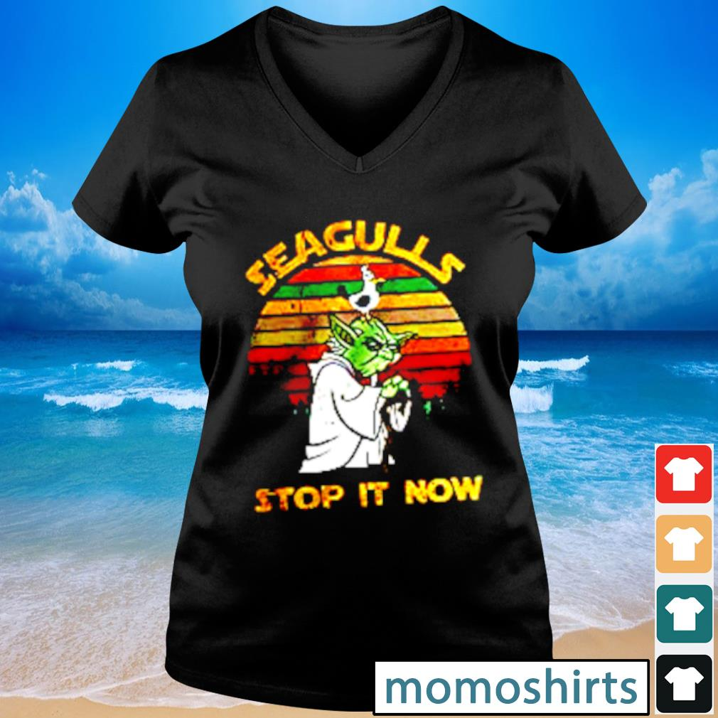 Yoda Seagull Stop It Now vintage s V-neck t-shirt