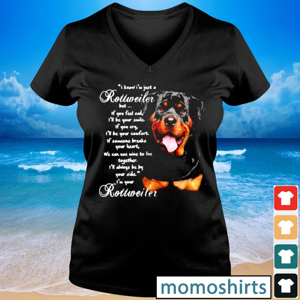 I Know I'm just a Rottweiler but If you feel sad I'll be your smile If you cry s V-neck t-shirt