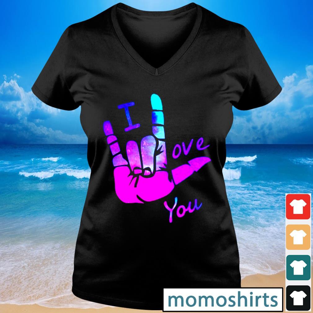 Sign language I love you s V-neck t-shirt