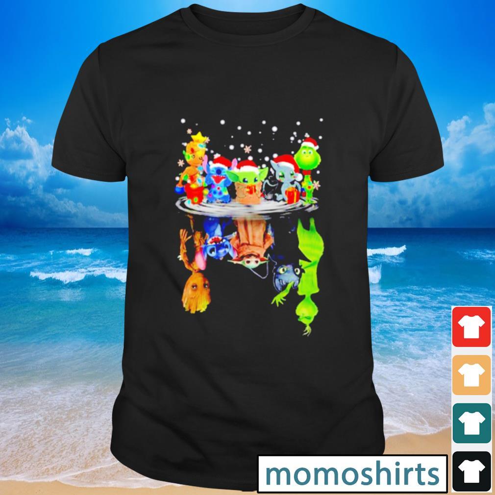 Baby Groot Stitch baby Yoda water reflection mirror Christmas shirt