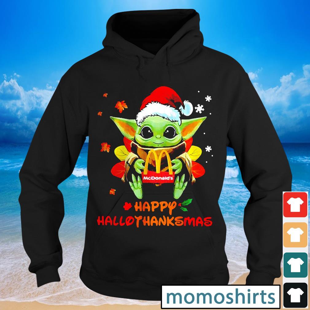 Santa Baby Yoda Hug Mcdonalds Happy Hallothanksmas s Hoodie