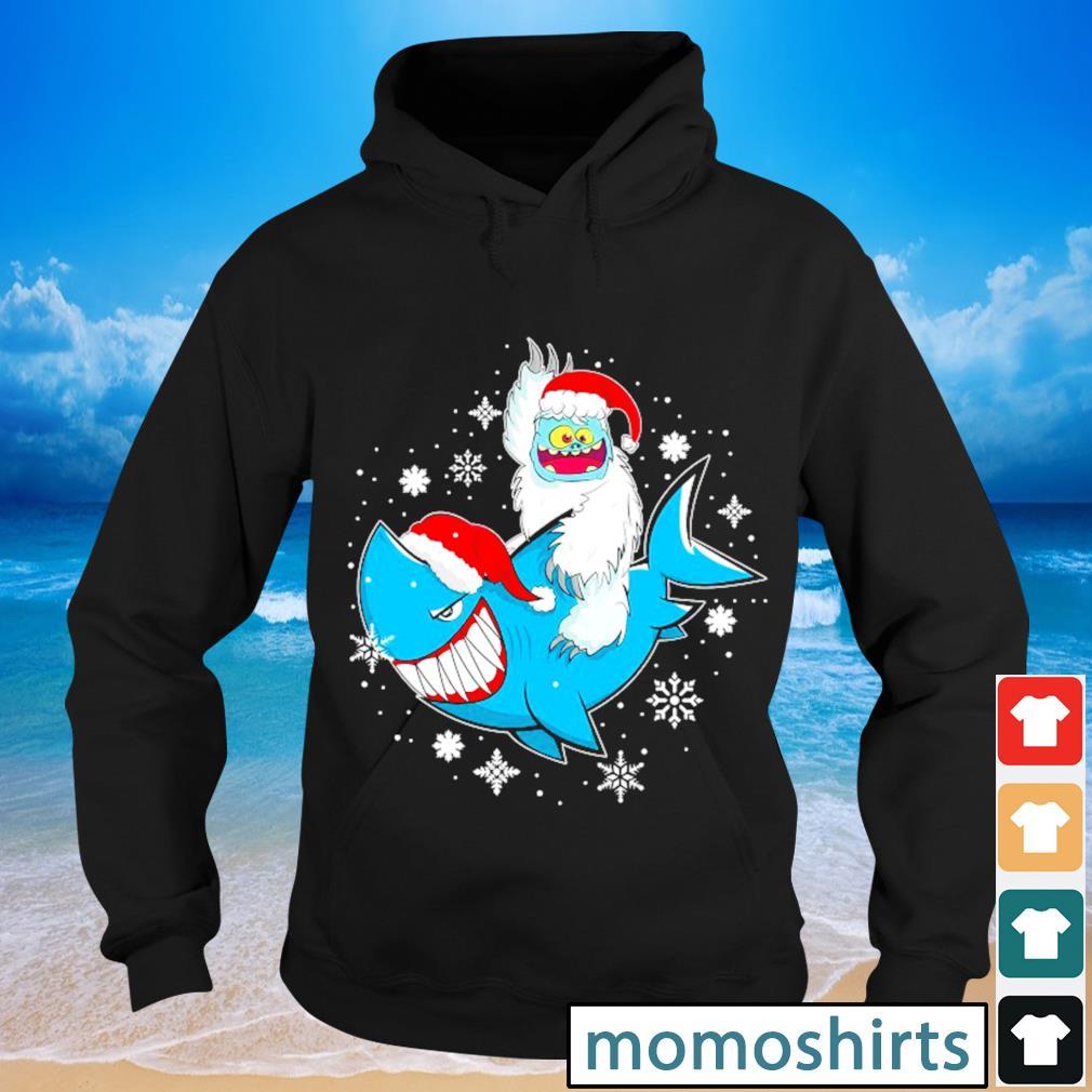 Yeti to party Shark Santa hat Christmas Pajama Xmas s Hoodie